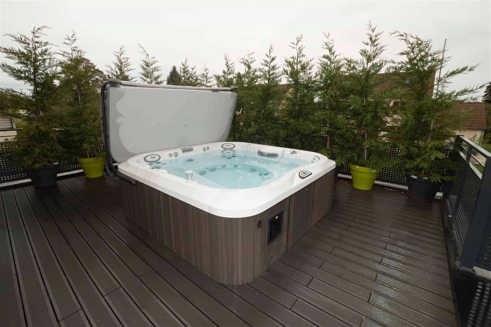 J-300 Collection Jacuzzi Hot Tub cover open